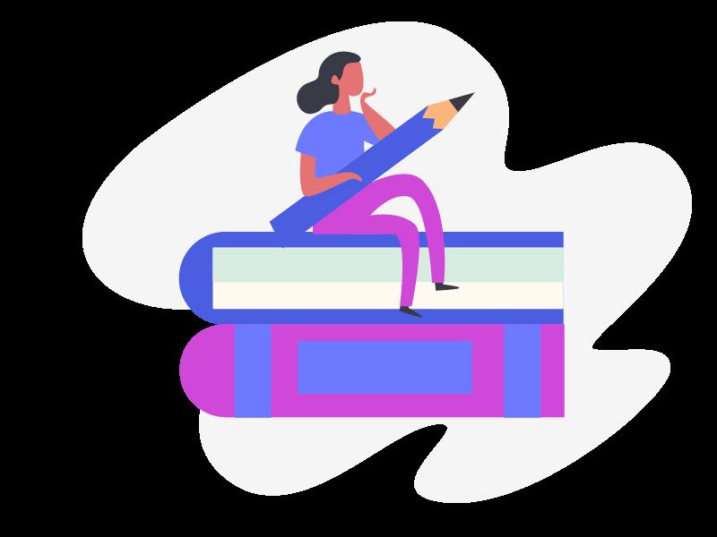 postać siedzaca na ksiązkach
